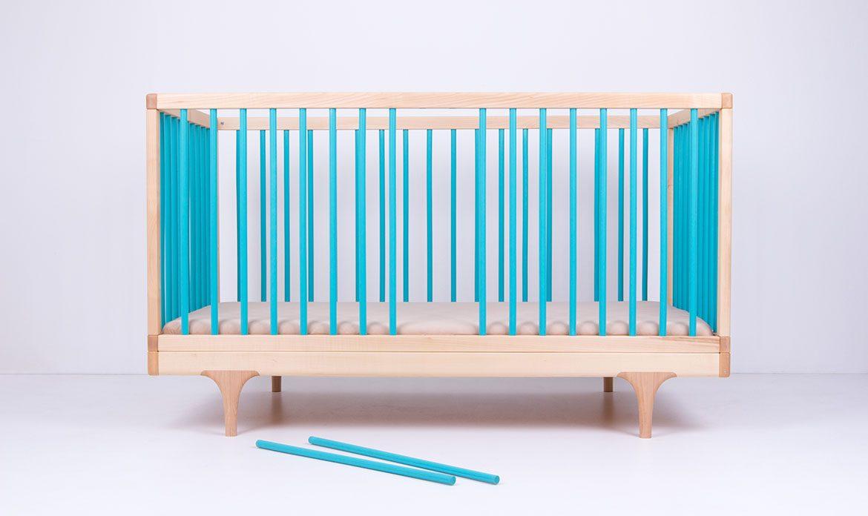 Blue Caravan Crib Spindles Removed