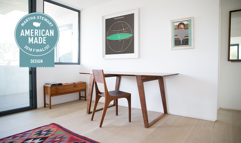 Isometric Table small Black Walnut and Isometric Chair Black Walnut