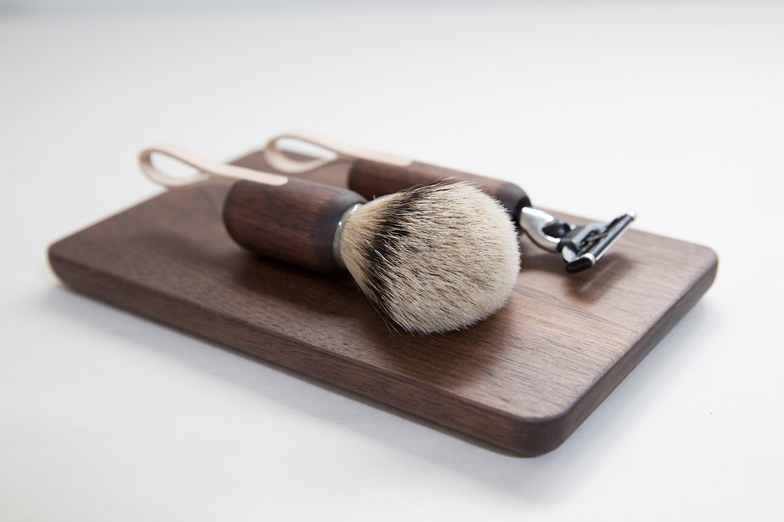Shaving Set on Black Walnut Breadboard