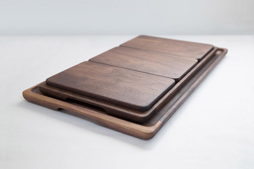 Full Set of Walnut Trays and Breadboards