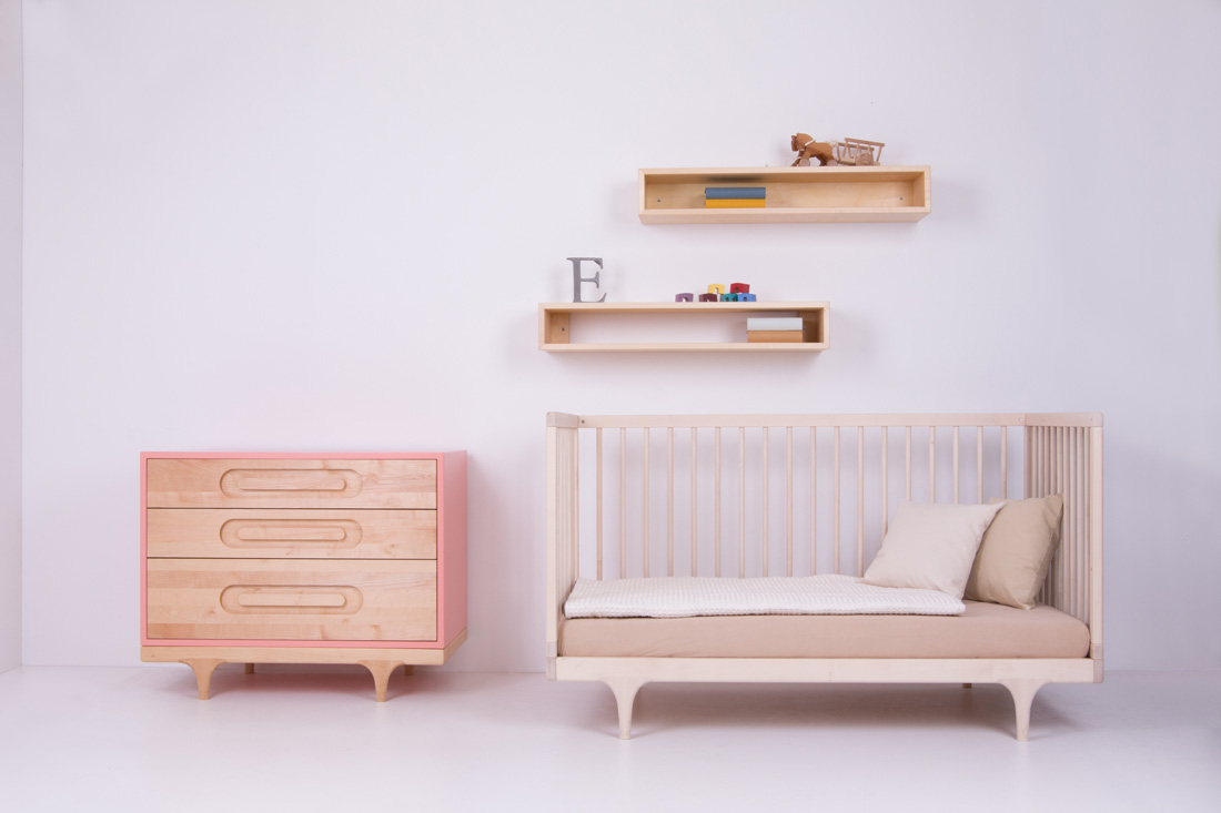 Pink Caravan Dresser and Raw Maple Caravan Crib, 'in the wild'