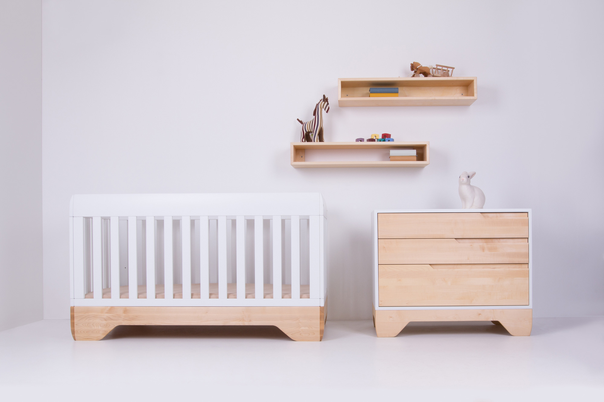 Echo Crib White, Echo Dresser Painted (White) 'in the wild'