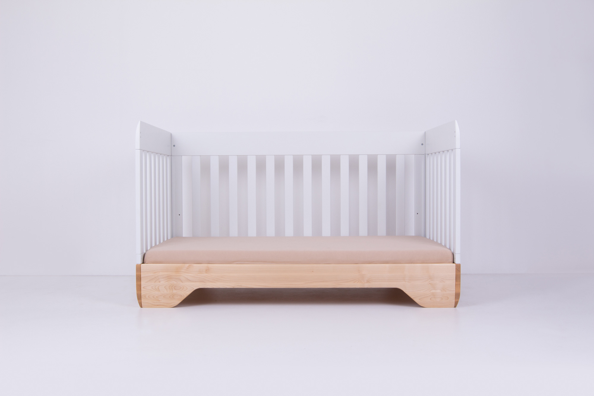 Echo Crib White Side Panel removed with mattress