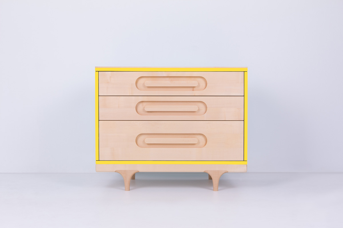 Solid maple Caravan dresser yellow