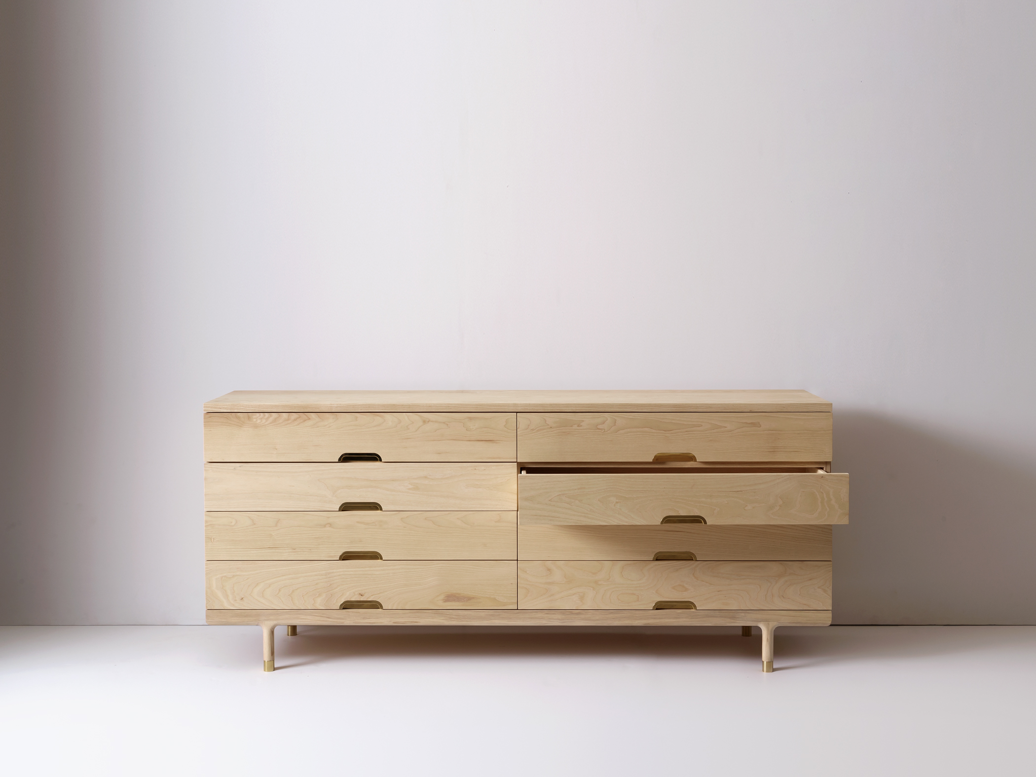 Modern Solid Wood Simple Dresser with Drawer Open