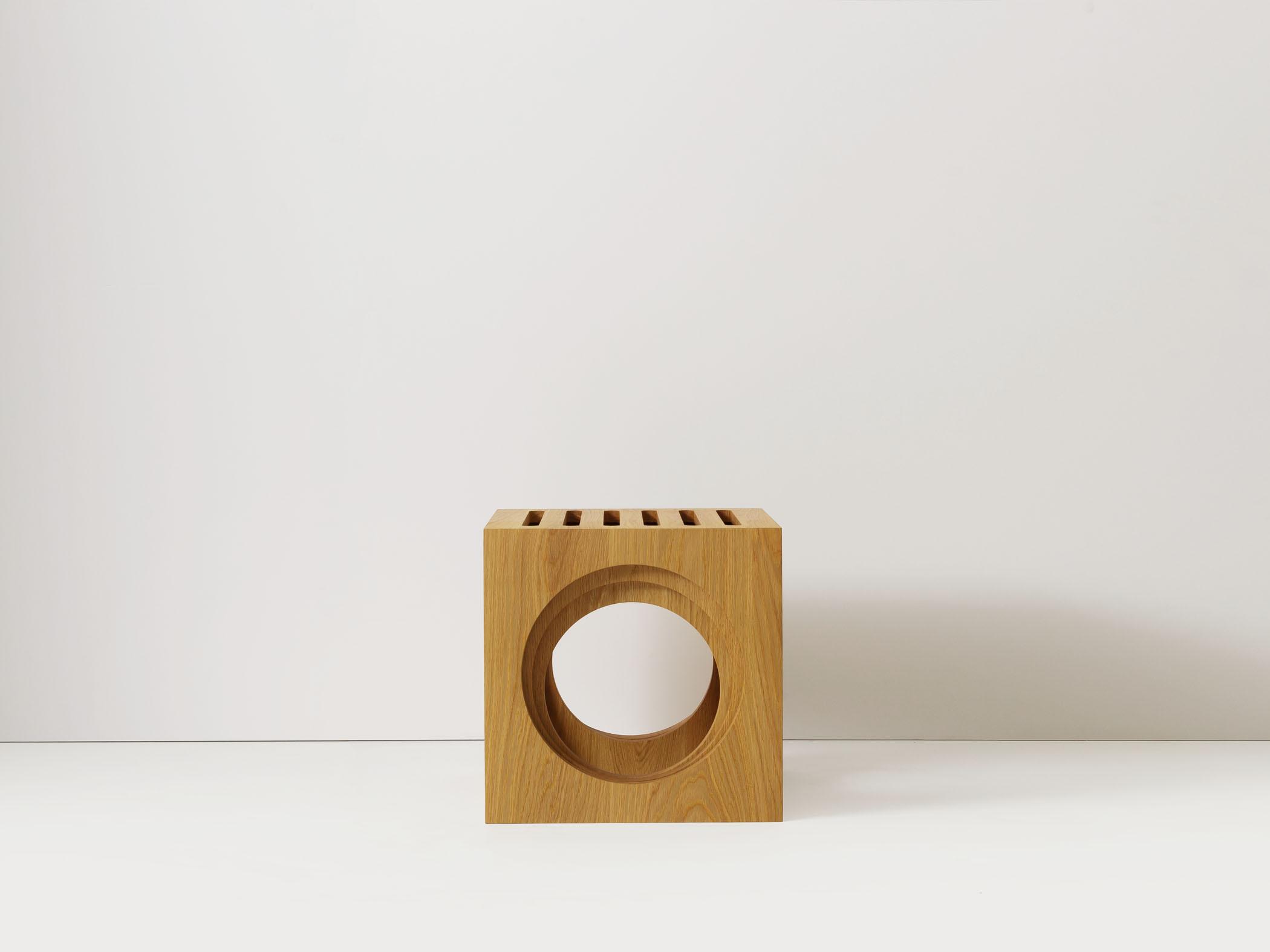 3 Blocks nesting tables/stools in white oak