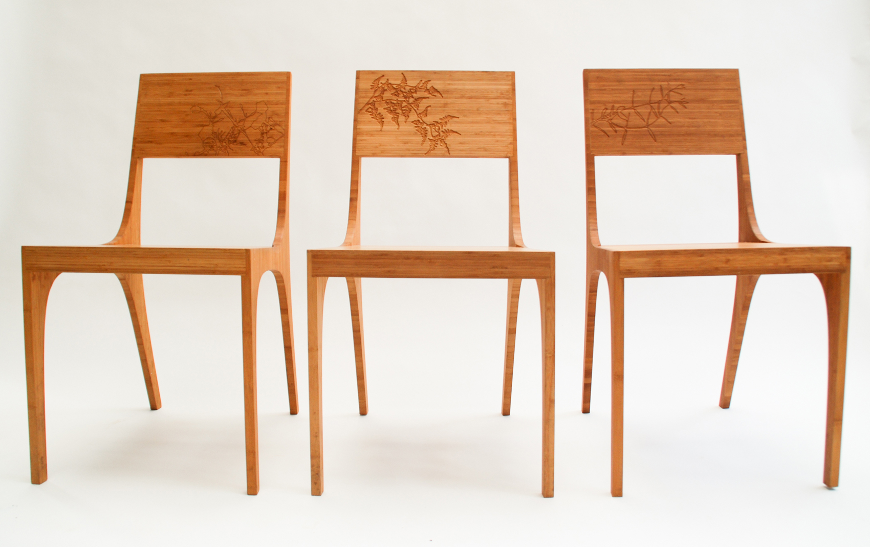 Isometric Chairs Bamboo with Engraving