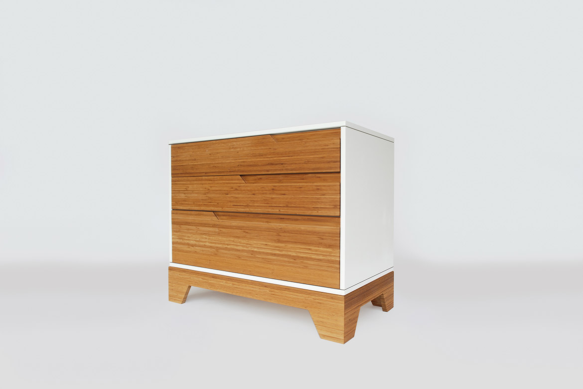IoLine solid bamboo dresser side view