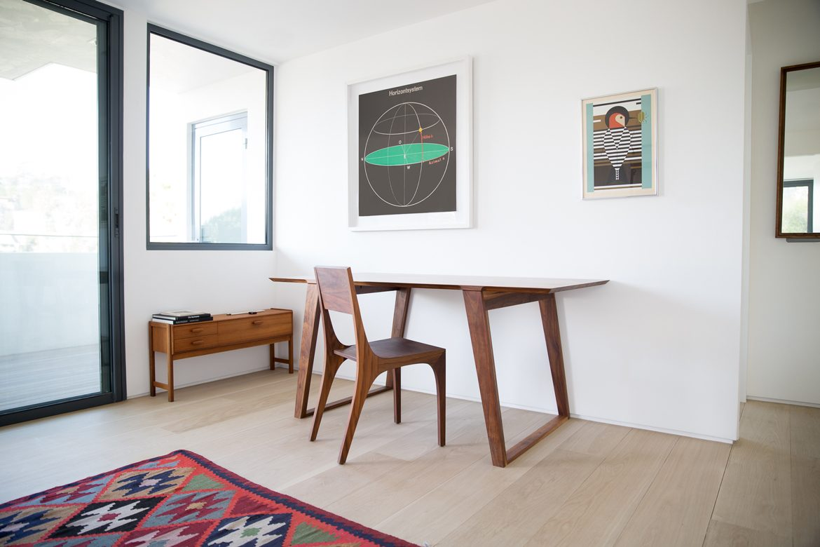 Isometric Table small in Black Walnut with Isometric Chair in Black Walnut