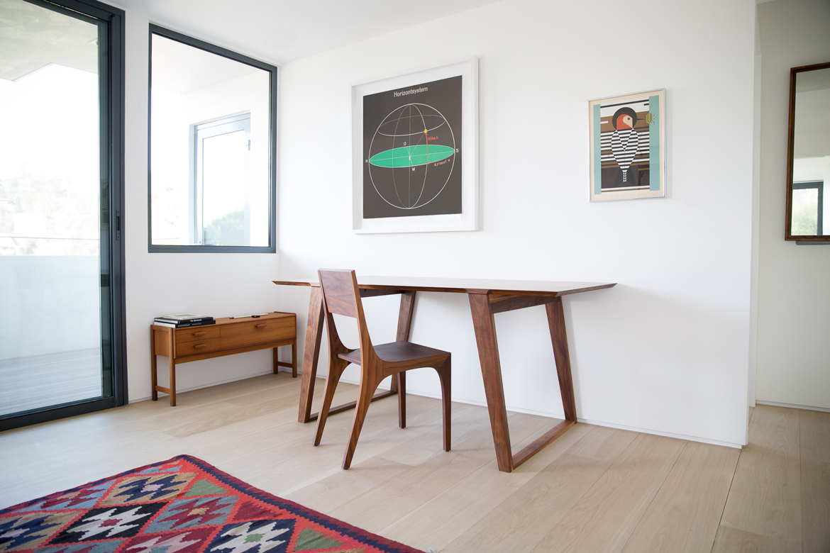 Isometric Table & Chair in Black Walnut