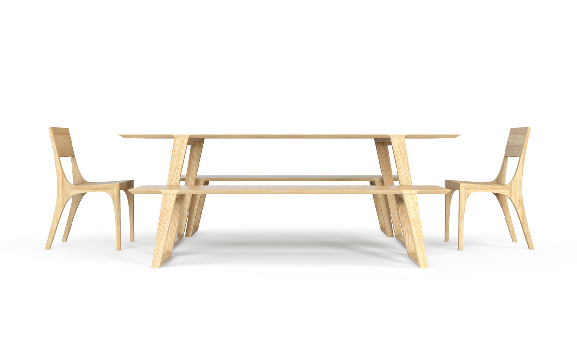 Isometric Table, medium benches and chairs in Ash