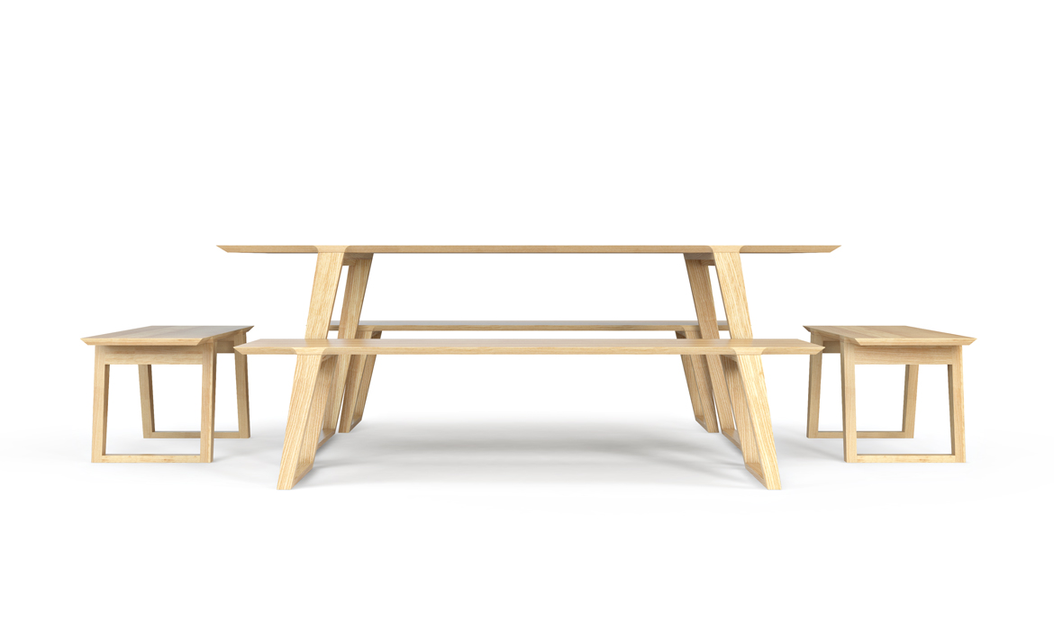 Isometric Table small and medium and small benches in Ash