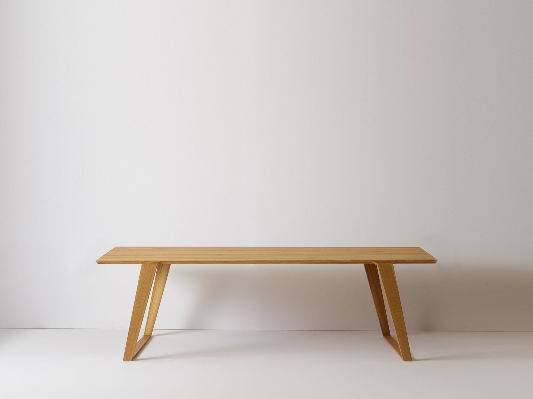 Modern contemporary bench or coffee table in solid white oak