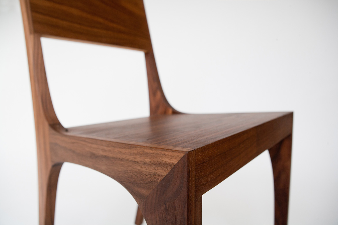Isometric Chair in Black Walnut Detail