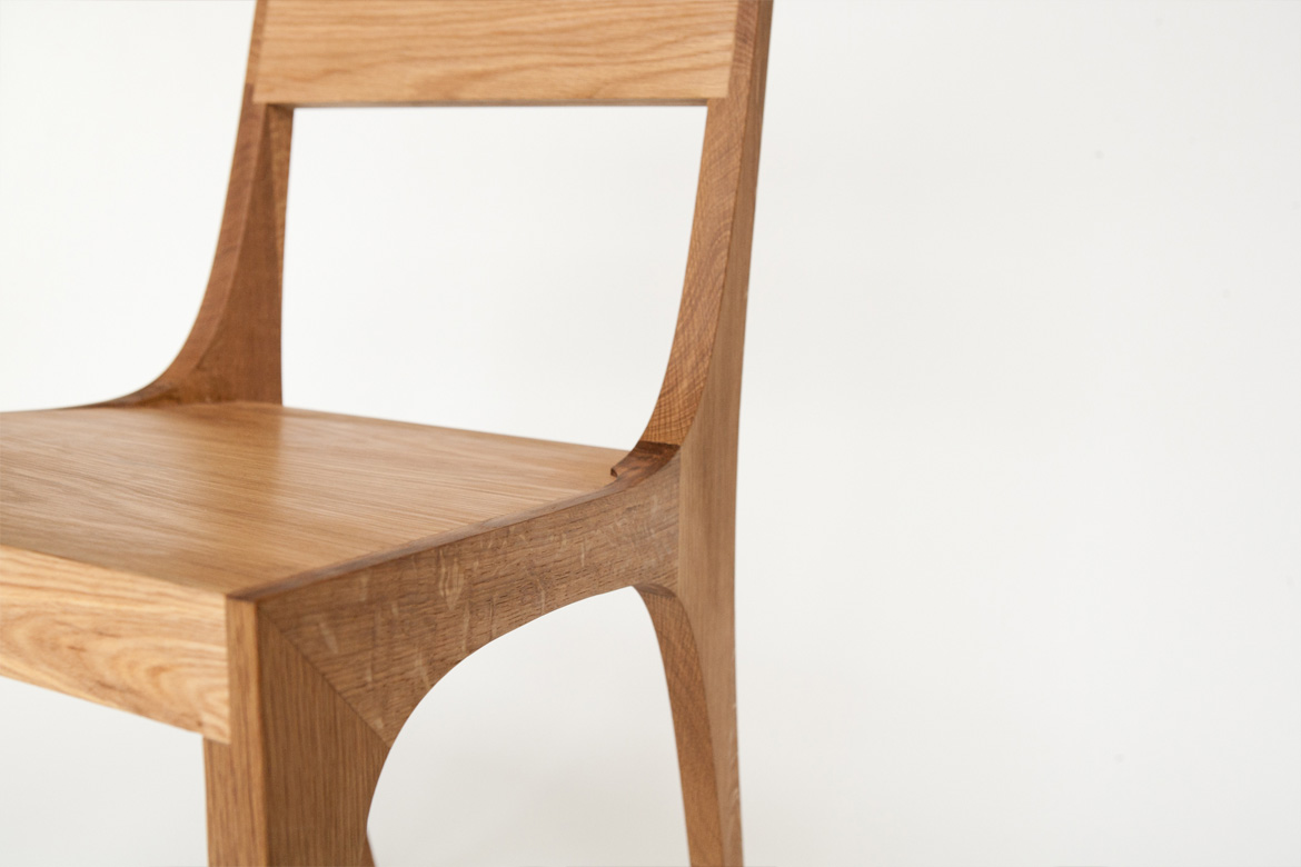 Isometric Chair in White Oak Seat Detail