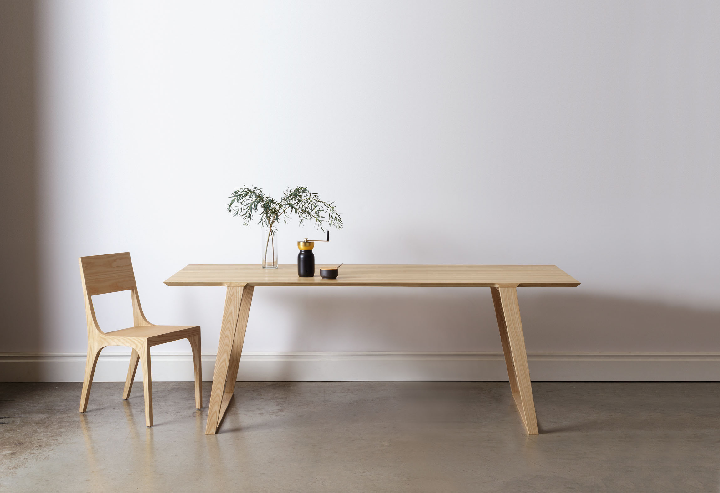 Modern contemporary solid wood dining table and chair