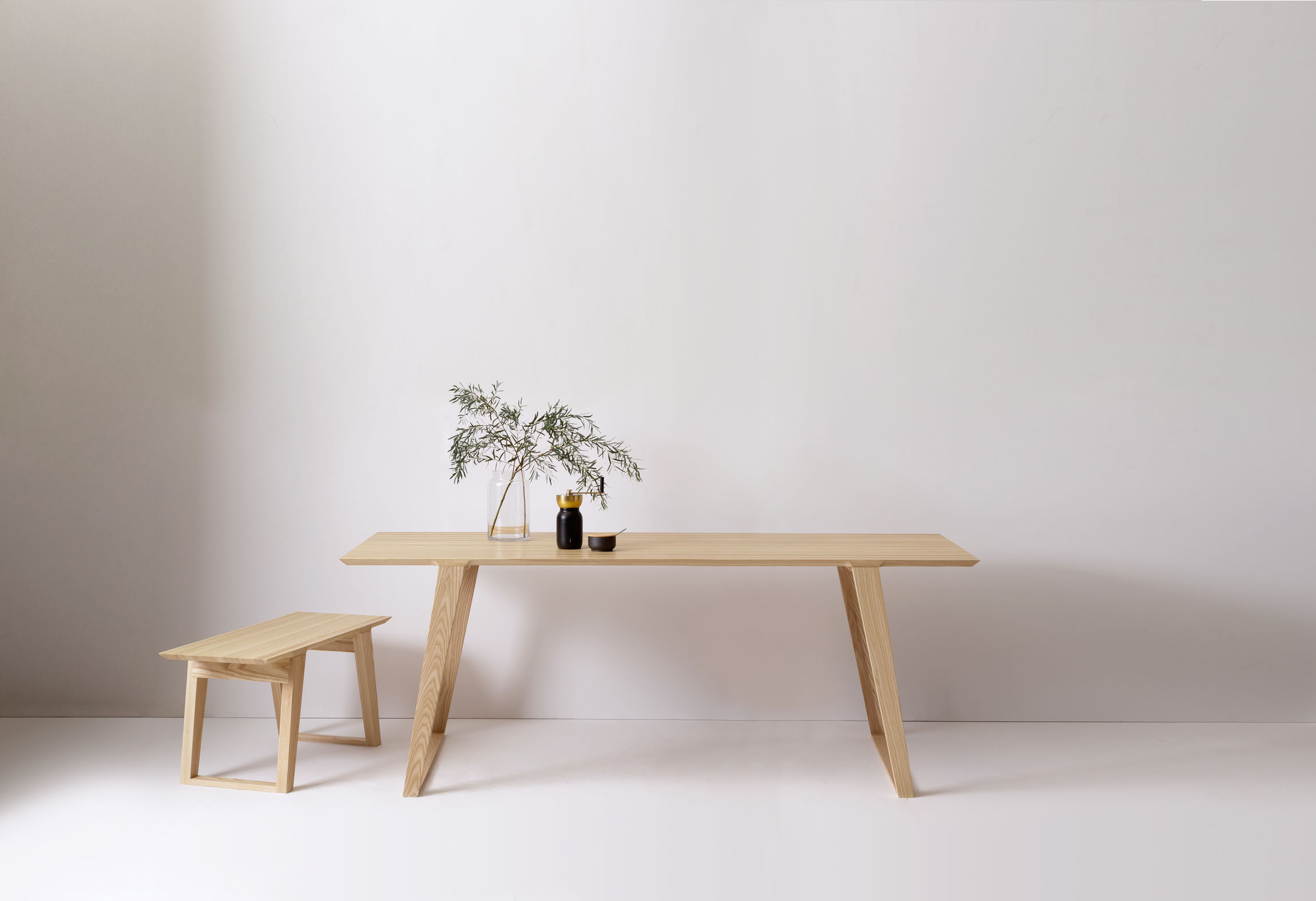 Modern Contemporary Dining Table and Bench in Solid Ash