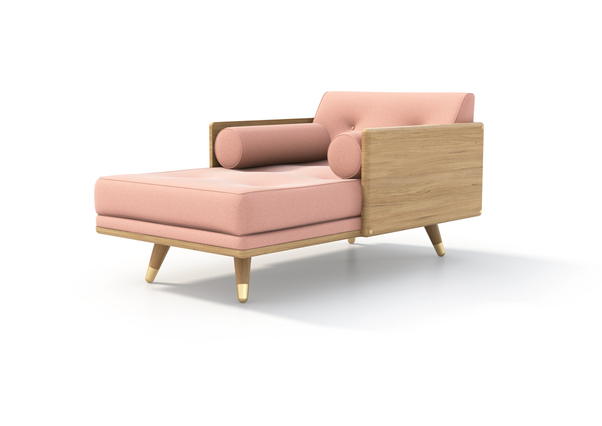 No.5 Series Chaise Pink three-quarter side view