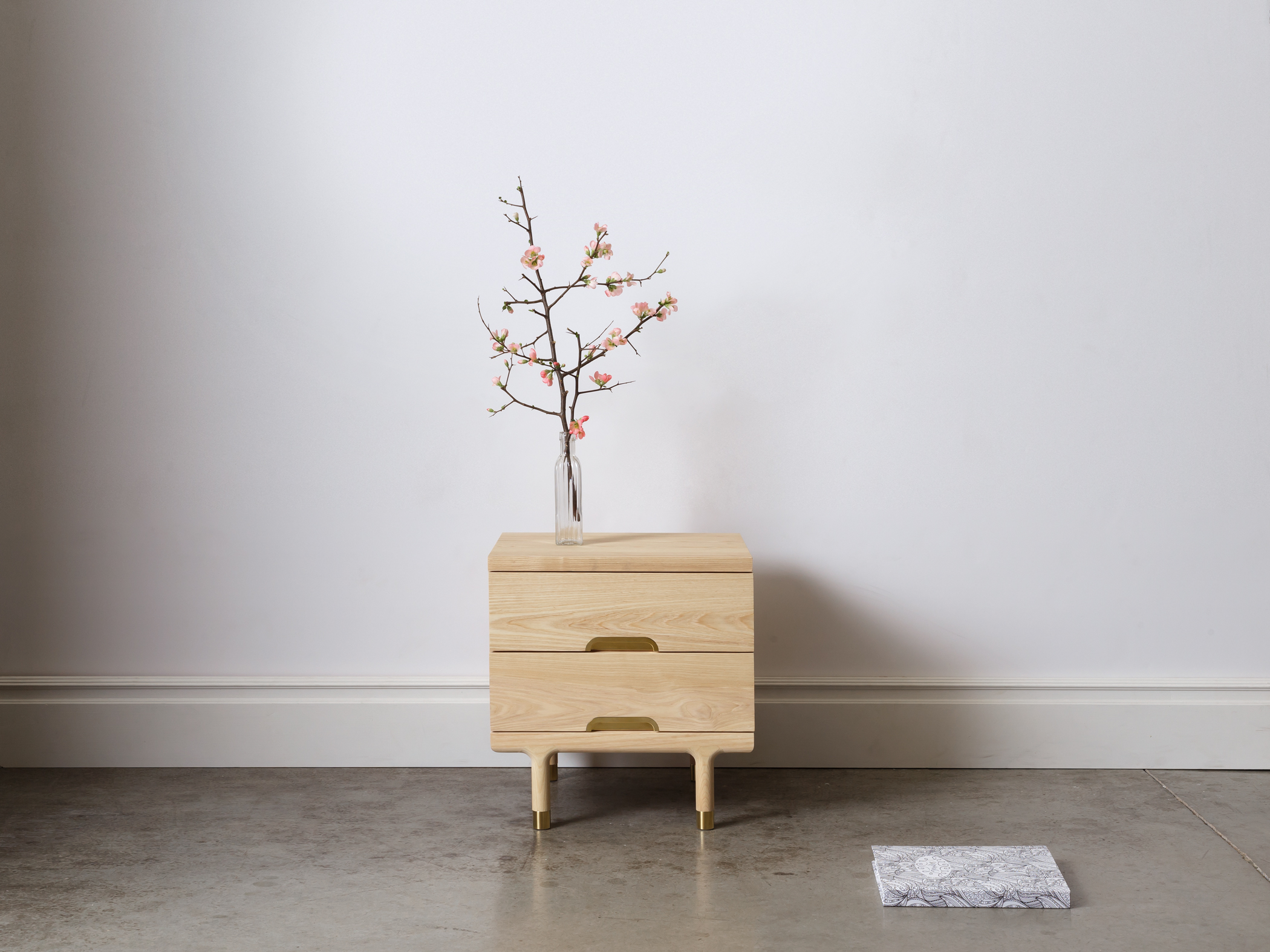 Simple Side Table Nightstand in Solid Ash
