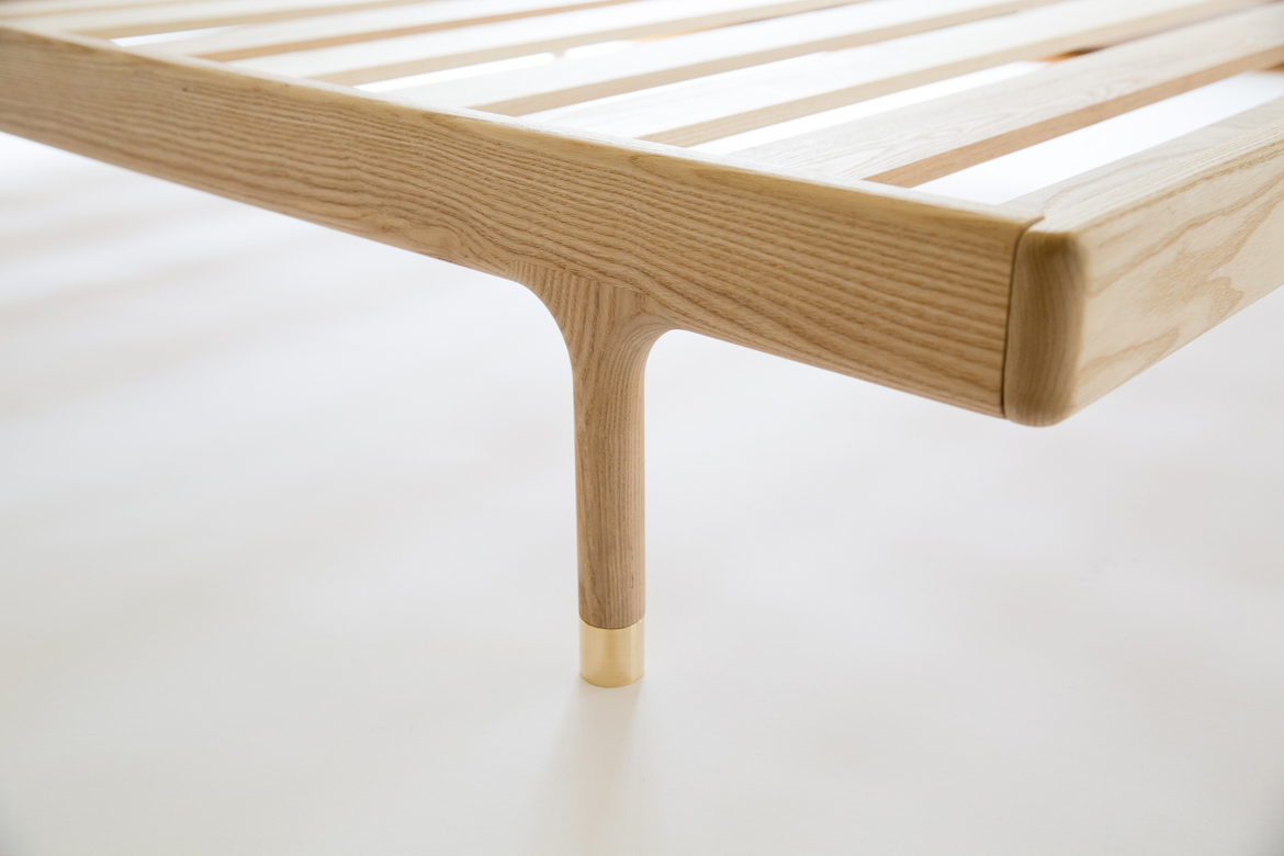 simple bed  modern platform bed with brass feet  kalon studios us - simple bed detail of support slats and foot