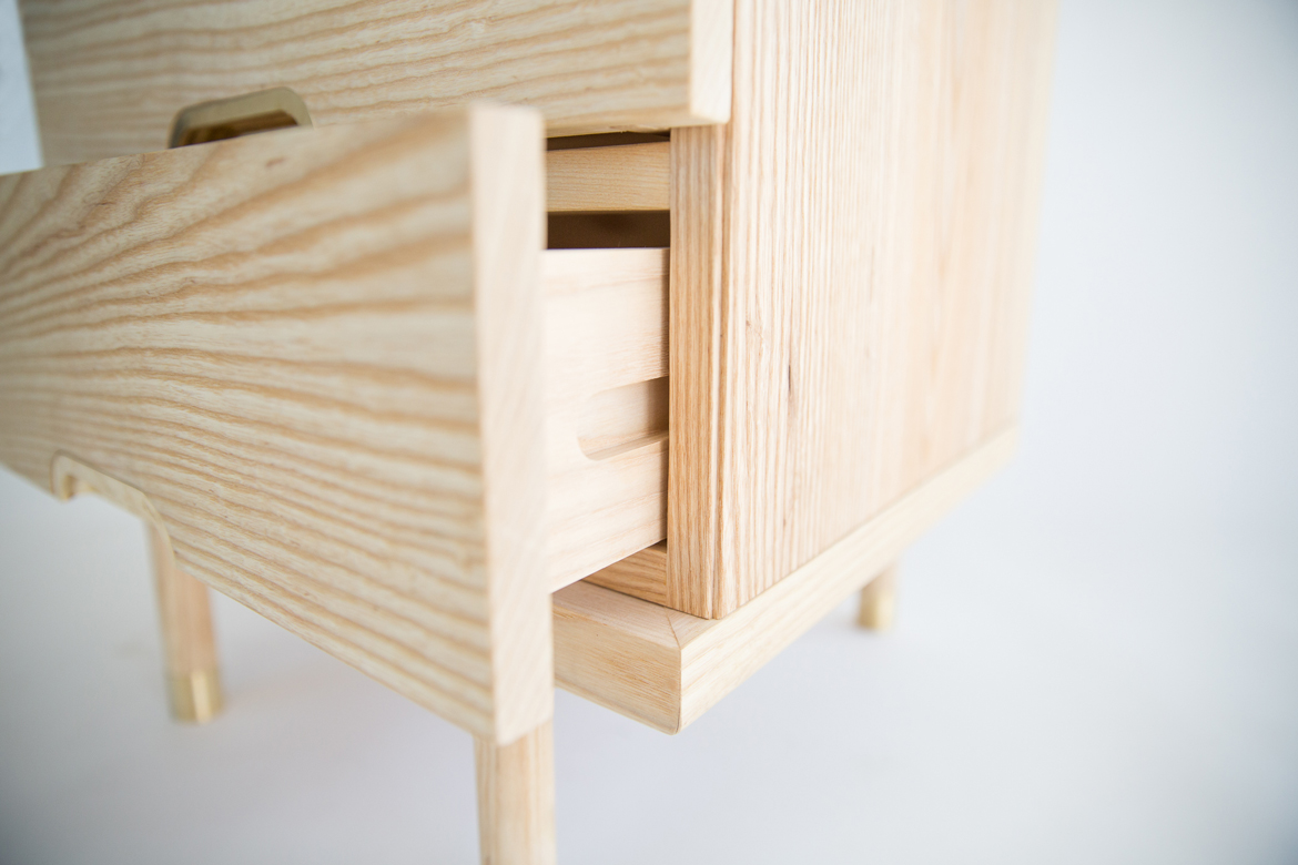 simple side table solid wood drawer detail