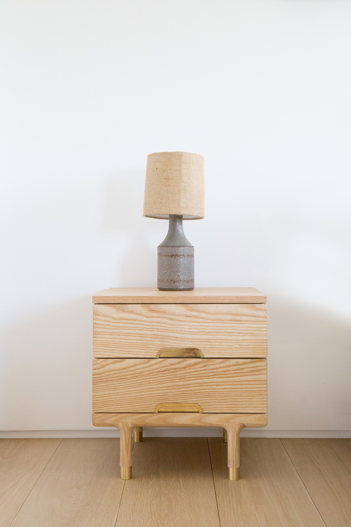 simple side table ash and brass