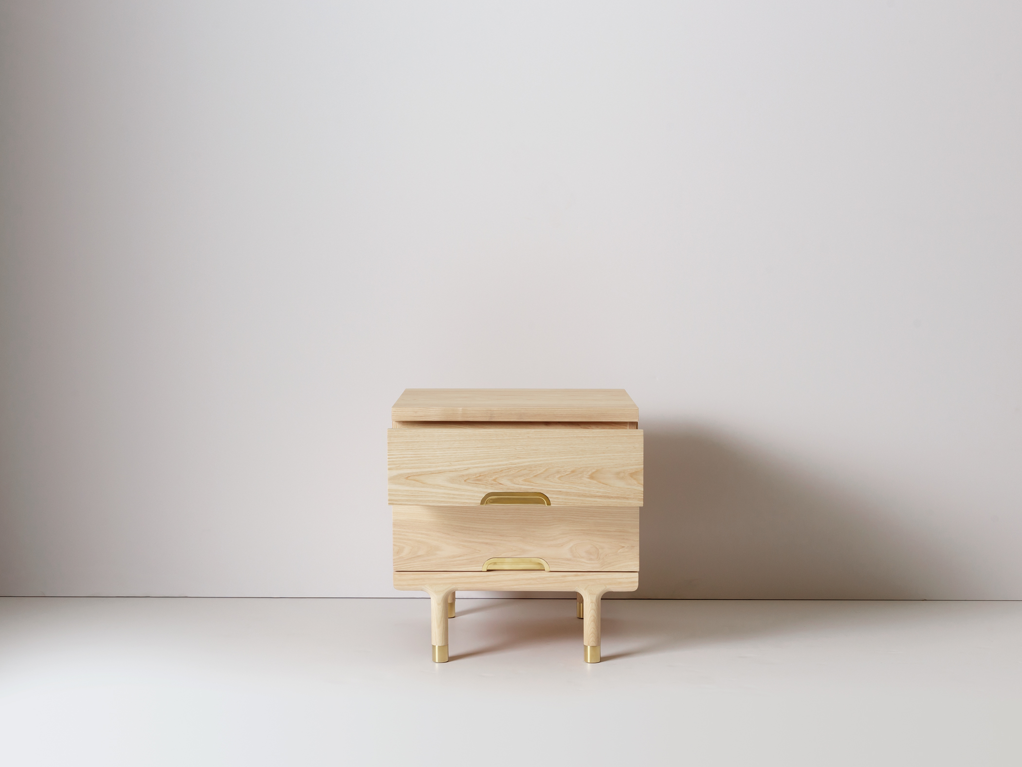 ... Modern Solid Wood Side Table Nightstand Drawer Open ...