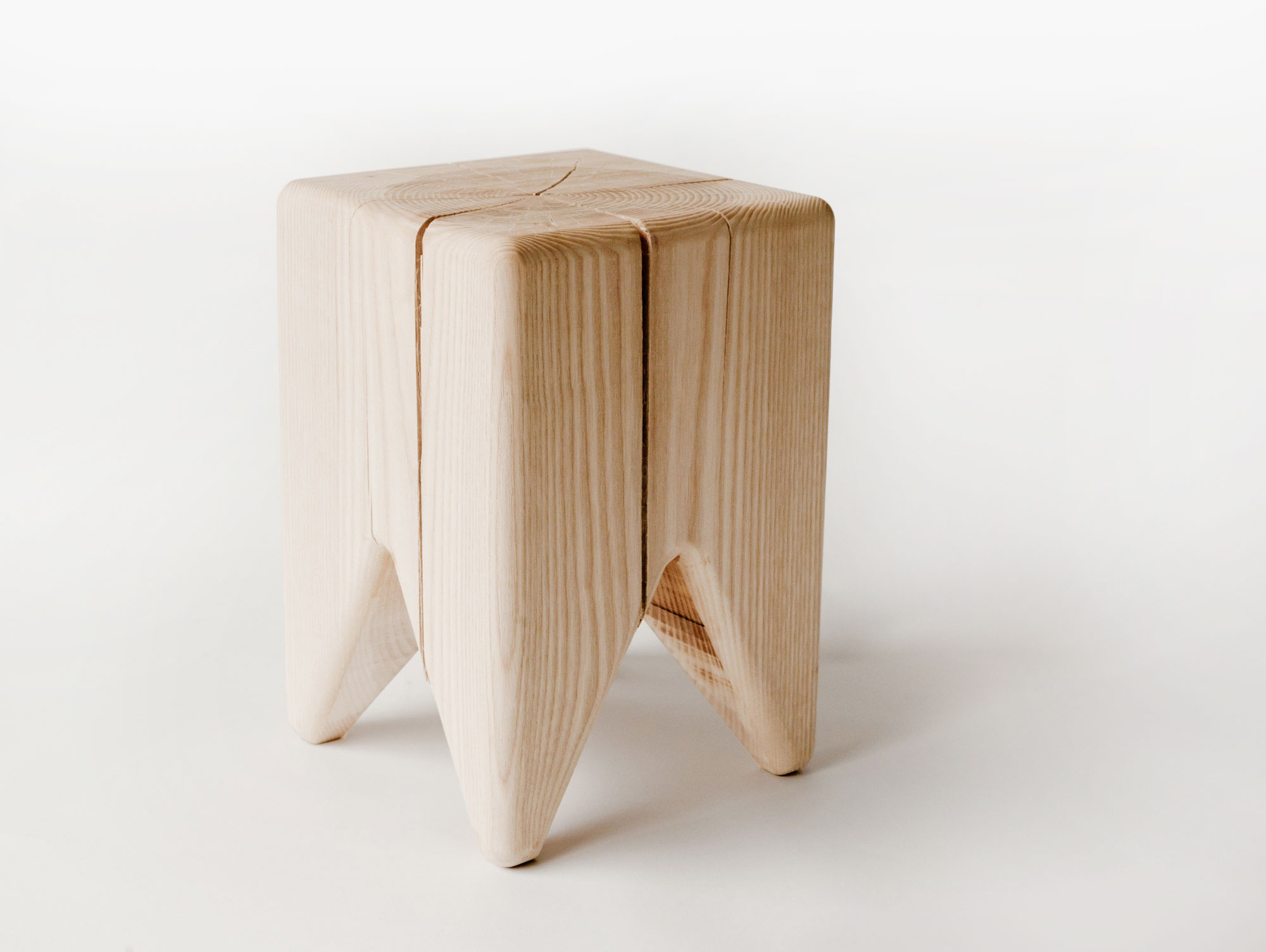 Stump Stool In Raw Ash Or Maple