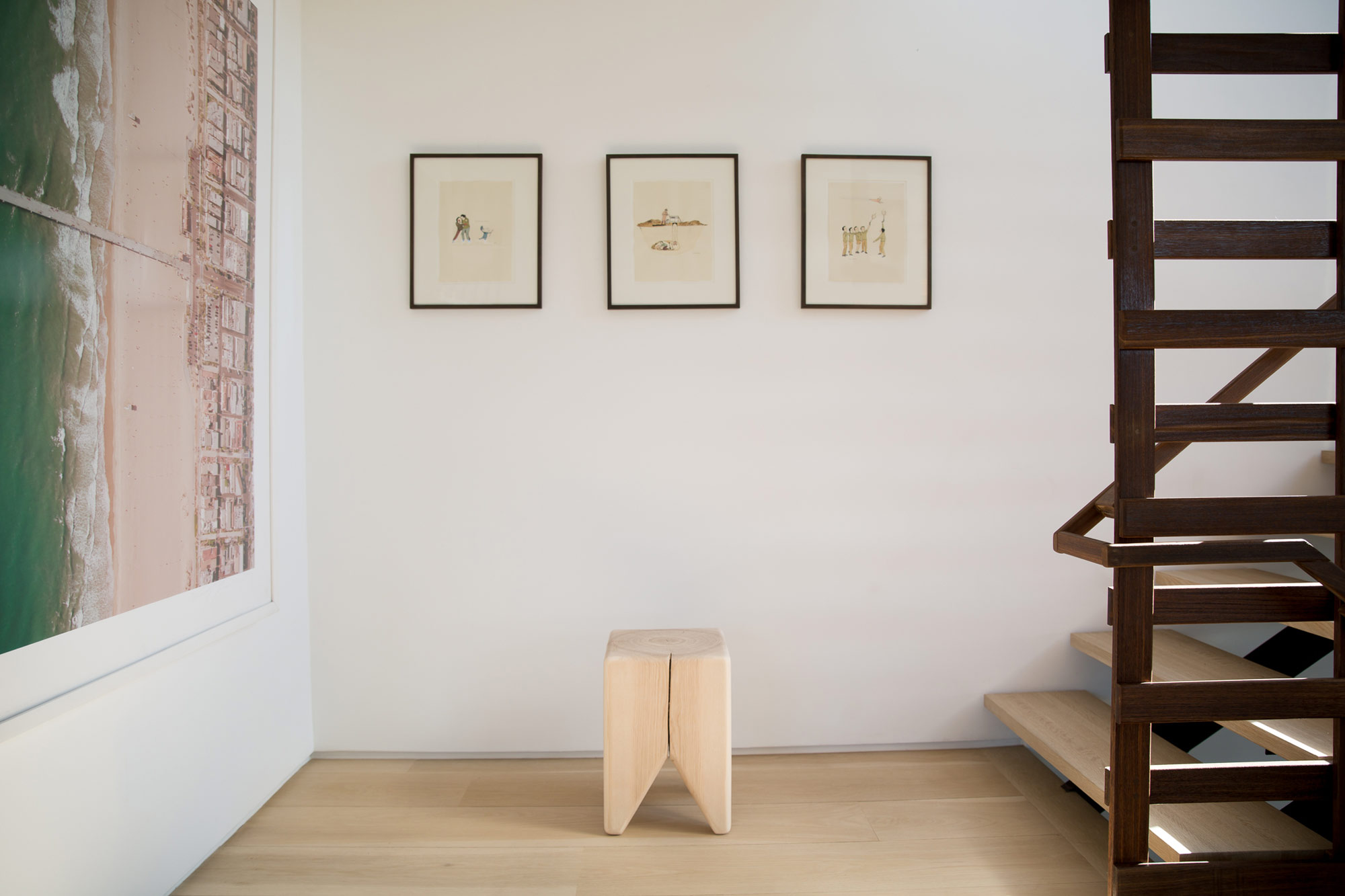 Stump stool in modern house