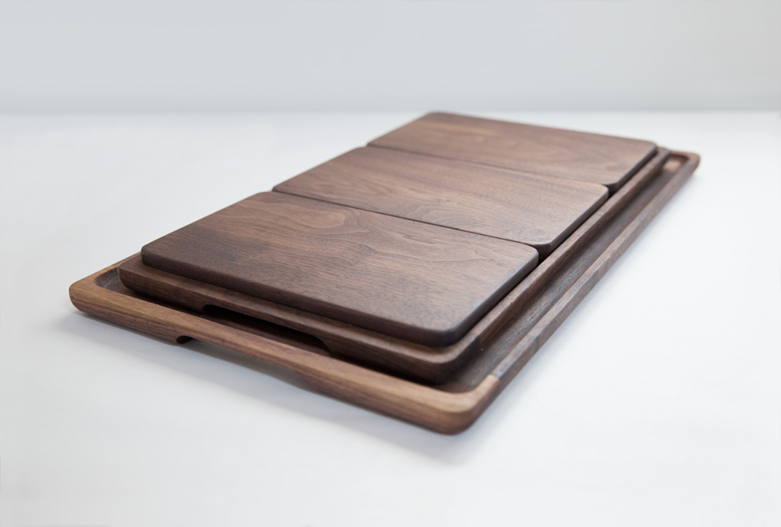 Full set of Trays with Breadboards in Black Walnut