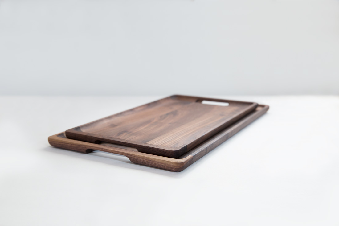 Small Tray and Large Tray nested in Black Walnut