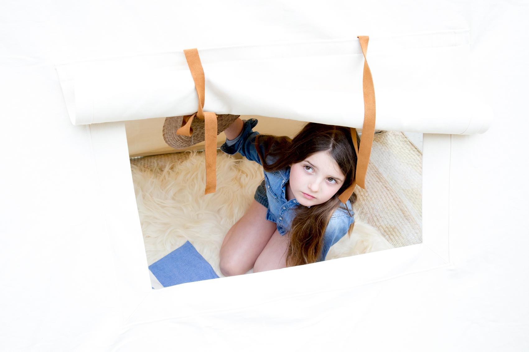Field tent kids teepee in natural window detail