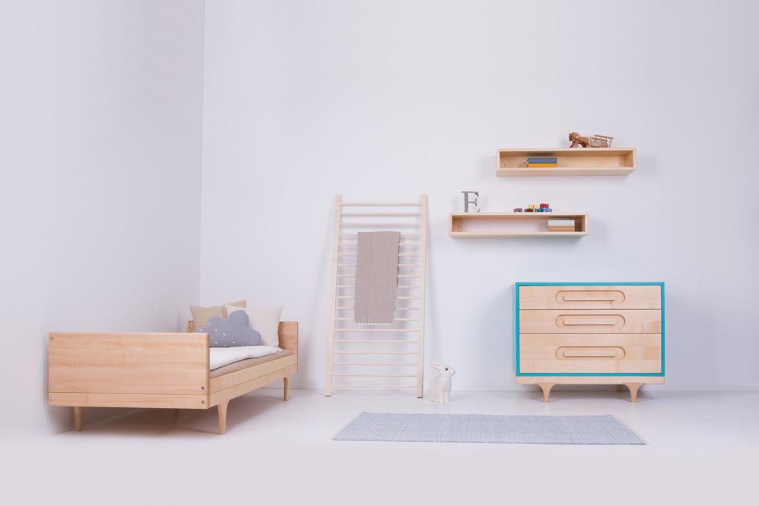 Oiled Caravan Divan Toddler Bed, Blue Caravan Dresser 'in the wild'