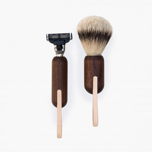 Shaving Kit with Black Walnut and leather hangers