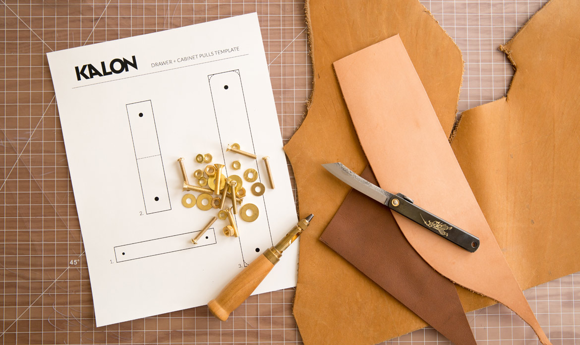 Leather and Brass Drawer Pulls DIY