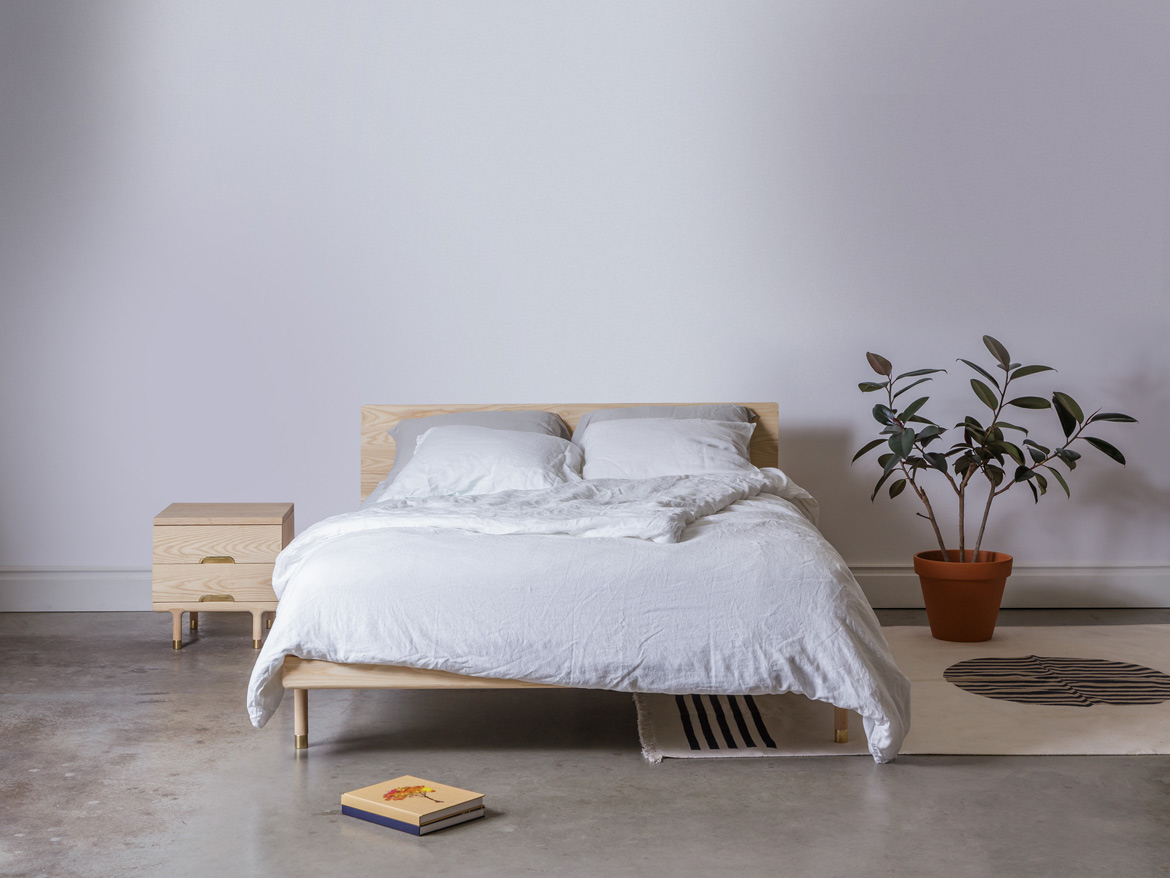 Simple Bed Modern Platform Bed With Brass Feet Kalon